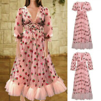 Elegant Women Puff Sleeve Strawberry Sequins Midi Dress Mesh V-neck Party Dress