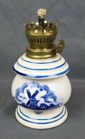 Vintage Small White Blue Delft Porcelain Lamp Windmill Oil Lamp