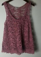 Urban Outfitters Ecote Women Sleeveless Rosy Brown Crochet Top Blouse Size S