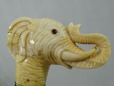 Nice Vintage Walking Cane Stick Hand Carved Elephant Head fine quality