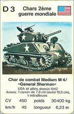 WWII GENERAL SHERMAN USA ETATS UNIS  CHAR COMBAT TANK PLAYING CARD CARTE A JOUER