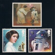 STAR WARS - PRINCESS LEIA + R2-D2 - SET OF 3 POSTAGE STAMPS - MINT CONDITION