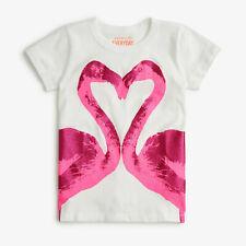 NWT J.CREW Crewcuts Girls 100% Cotton Glitter Flamingo T-Shirt PLASTER WHITE  14
