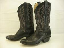 Men's 9.5 D M Panhandle Slim Black Leather Cowboy Western Boots Embroidered Tall