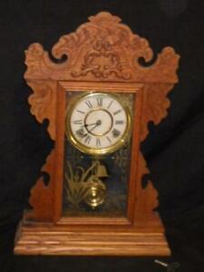 ANTIQUE EN WELCH OAK KITCHEN GINGERBREAD SHELF CLOCK HOME WORKS GREAT 1864