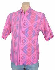 Vintage 80s MENS PINK SHIRT Southwestern Print SW Button Front Short Sleeve
