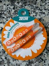 2 Pack Trim Mini Tweezers Slant and Point Tips Orange and White Daisy New