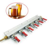"6 Way 1/4"" Barb CO2 Gas Distribution Manifold Splitter Beer Kegerator Homebrew"