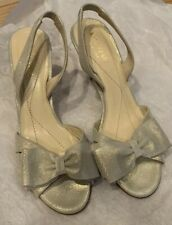 1a8b52feb983 Kate Spade Silver Leather Metallic Bow Slingback Kitten Heels Shoes NEW!   295