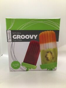 Tovolo Groovy Ice Pop Molds, Drip-Guard Handle, 4 Ounce Popsicles, Set of 6, Gre