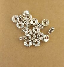 100 pcs  silver glass crystal roundel spacer beads, 6 mm, option for colours