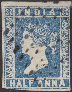 India 1854 QV ½a Blue Die I Used SG2 cat £40 with diamond dot postmark