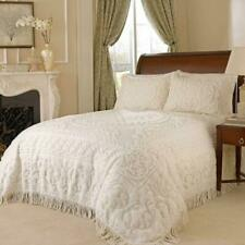 Beautiful Medallion Chenille Queen Bedspread Ivory 100% Cotton Fringe No Shams