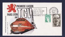 f/ enveloppe 1ère  liaison  TGV  Paris Lyon   Lyon prefecture  1981