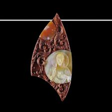 Carved Wood MOP & Gem Jesus Bead GC003056