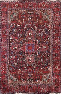 Vintage Geometric Heriz Hand-knotted Area Rug Traditional Oriental 6'x9' Carpet