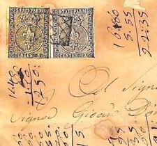 MS2114 1853 ITALIA STATI PARMA Lettera Classic 15c affrancatura Copertura difetti RARO