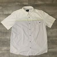 Marmot Mens Syrocco Short Sleeve Button Down White Striped Shirt Sz XL