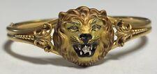 14k Yellow Gold Diamond Lion Bangle