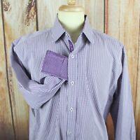 English Laundry Mens Casual Dress Shirt Sz 17.5 32-33 XL Purple Plaid Flip Cuff