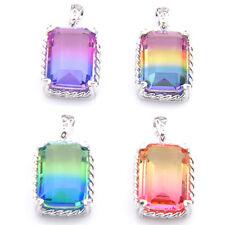 4 pcs Rectangle Rainbow Mystic Topaz Amethyst Citrine Silver Necklace Pendants