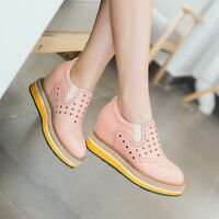 Fashion Retro Womens Round Toe Slip On Hollow Out Platform Wedge Heels Shoes