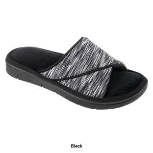 ISOTONER Women's Black Space Dye Scout House Slippers Sturdy Sole