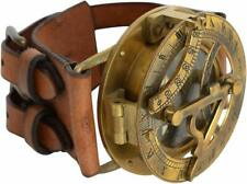 Vintage Nautical Steampunk Sundial Compass Wrist Watch Leather Strap Handmade