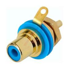 Neutrik Rean NYS367-6 Gold Plated RCA Phono Jack - Female Chassis Socket, Blue