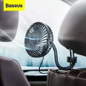 Baseus 360° Portable USB Air Fan 3 Speed Truck Caravan Travel  Car Clip On Fan