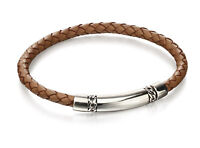 Fred Bennett Mens 925 Sterling Silver Tan Brown Woven Leather & Chain Detail