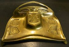 "Vintage Footed Art Deco Brass Desktop Inkwell 10"" x 7"" Marked 3553 Very Good Con"