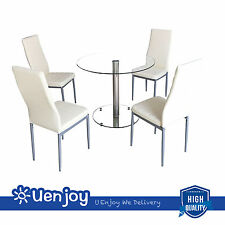 5 Piece Round Glass Dining Table Set w/4 Chairs Kitchen Room Breakfast
