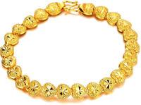 "24k Yellow Gold Linked Hearts Chain Women's Teens Bracelet Small 61/2"" D149D"
