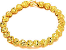 "24k Yellow Gold Linked Hearts Chain Bracelet Women's Small 7"" Gift Pkg D149c"