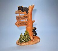 Miniature Bear Creek Tree Welcome Sign with Cubs lodge lake Fairy Garden