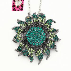 Betsey Johnson Crystal Rhinestone Sunflower Pendant Sweater Chain Necklace Gift