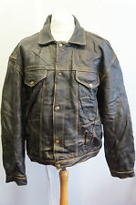 VINTAGE JACK & JONES LEATHER MOTORCYCLE JACKET  XL XXL +