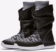 Nike Roshe Two Hi Flyknit / Leather Women's Sneaker Boots Sz 7 Black / White