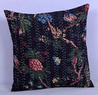 INDIAN BLACK BIRD FLORAL PILLOW CUSHION COVER THROW Ethnic Kantha Decor 16""