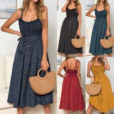 Womens Ladies Summer Polka Dot Swing Tank Buttons Ruffles Drawstring Midi Dress