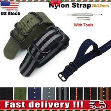 USA Nylon Fabric Wrist Watch Band Military Canvas Casual Buckle Strap 20/22mm