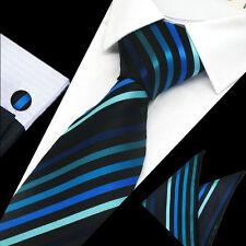 NERO CON STRISCE BLU 100% Pura Seta Cravatta Gemelli e Fazzoletto Set