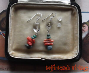BABY SKULLS EARRINGS! USA turquoise & vintage coral beads .925  HALLOWEEN PARTY