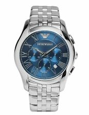 Emporio Armani AR1787 Mens Silver Navy Blue Stainless Steel Chronograph Watch