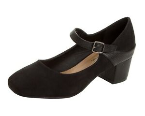 WOMENS BLACK SNAKESKIN SMART WORK OFFICE WIDE FIT MARY JANE SHOES LADIES SIZE