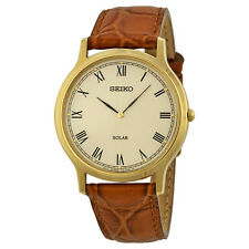 Seiko Solar Off White Dial Brown Leather Mens Watch SUP876