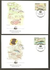 1984   GRENADA   -  4 x WWF FIRST DAY COVERS  -  CORAL REEF FISH