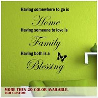 Having Somewhere to Go Is Home Removable Wall  Vinyl Decal Inspirational Quotes