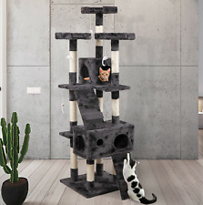 """New 67"""" Cat Tree Tower Condo Furniture Scratching Post Pet Kitty Play House Gray"""